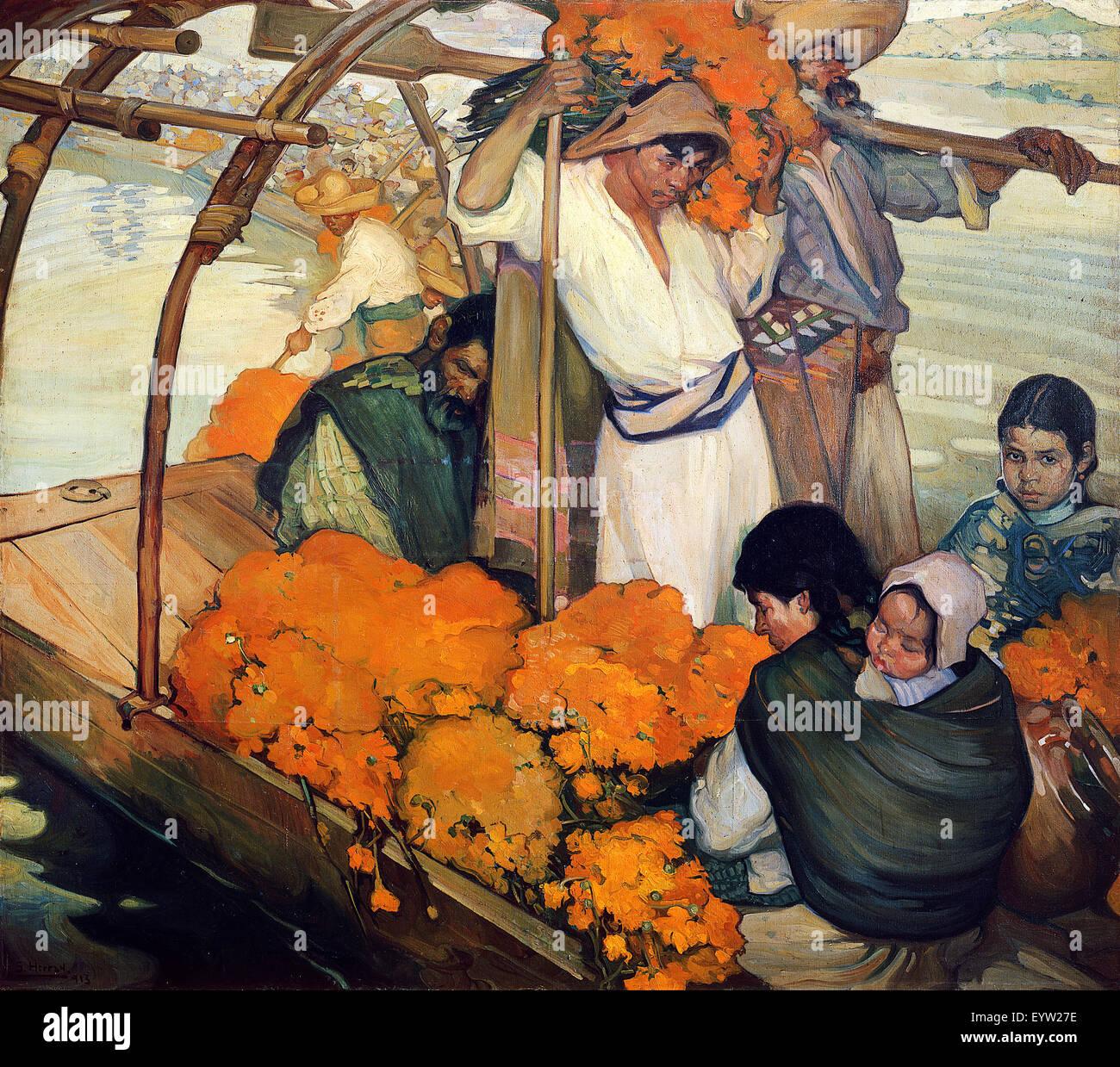 Saturnino Herran, l'offerta 1913 olio su tela. Museo Nacional de Arte, Città del Messico. Immagini Stock
