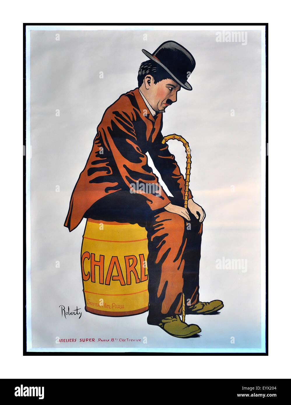 Vintage degli anni trenta poster di Charlie Chaplin KBE 16 Aprile 1889 - 25 dicembre 1977 English attore comico Immagini Stock