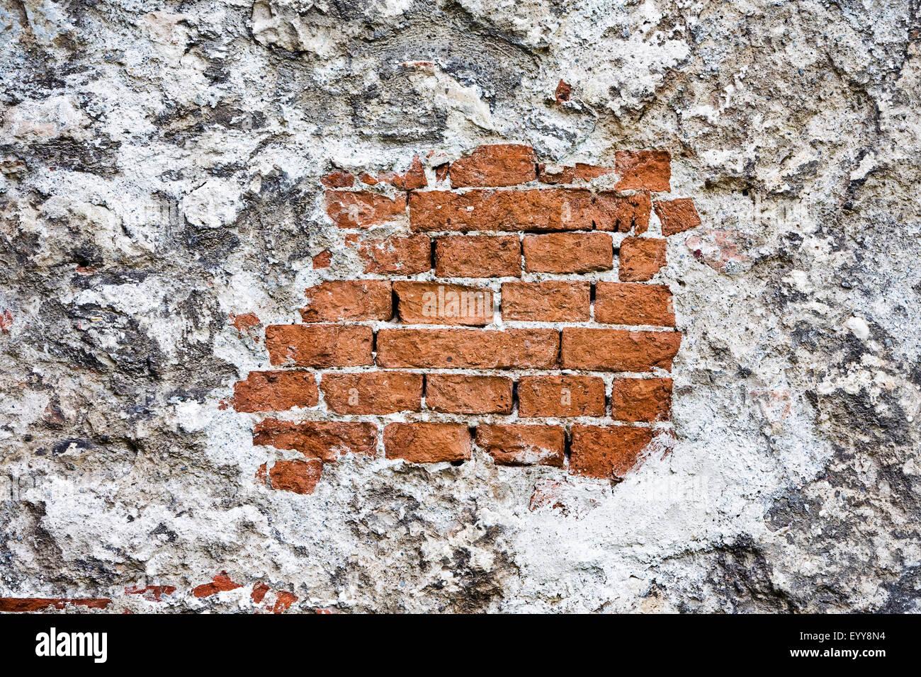 In parte intonacata parete in mattoni, Austria, Vienna Immagini Stock