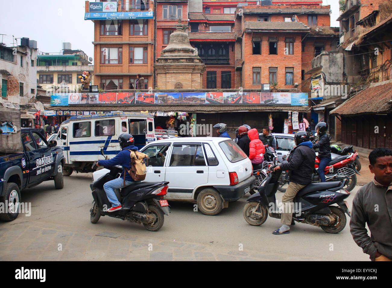 Il traffico caotico della città, Nepal, Kathmandu Immagini Stock
