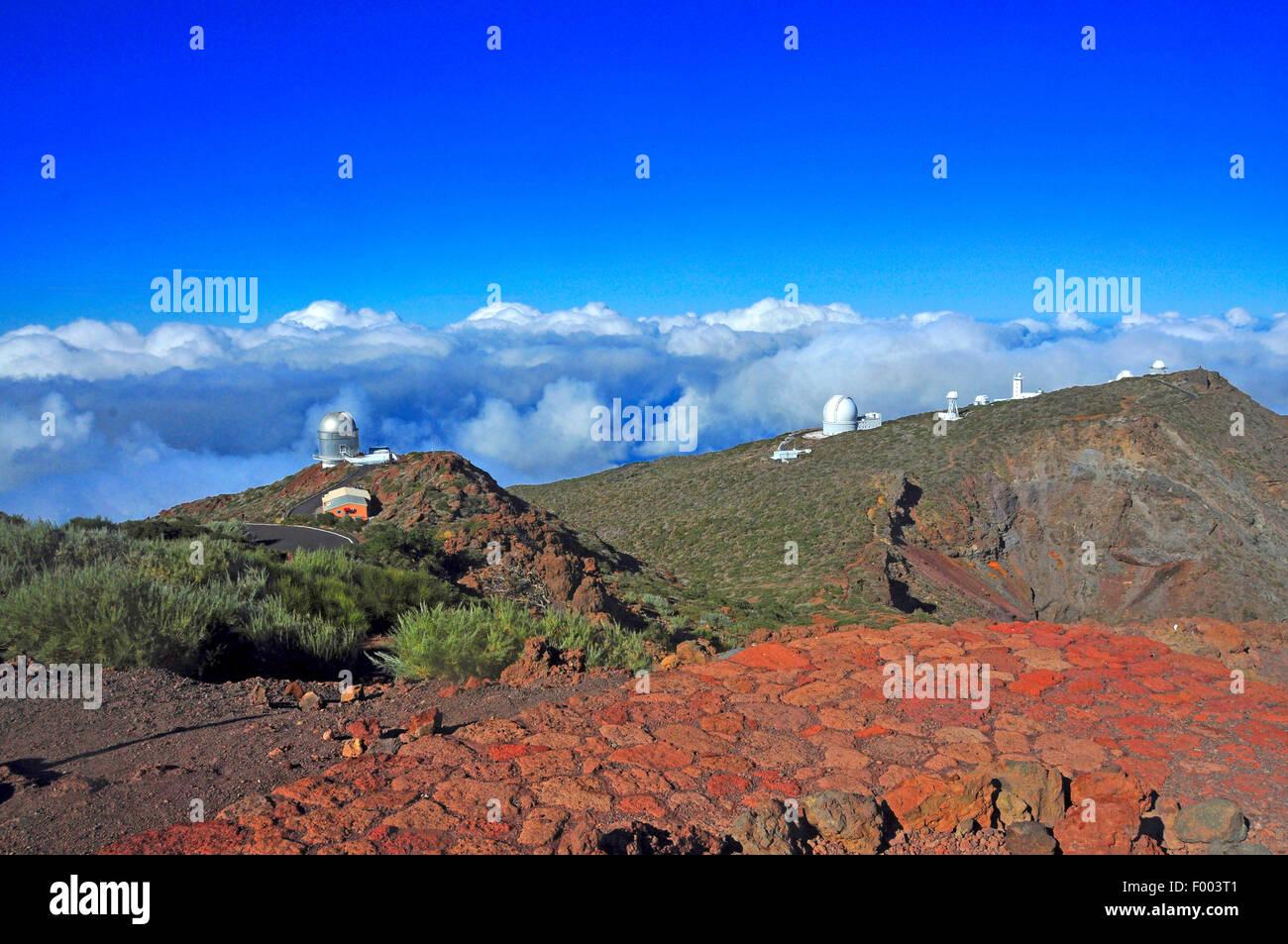 Osservatorio di Roque de los Muchachos, Isole Canarie La Palma, Parque Nacional de la Caldera de Taburiente Immagini Stock