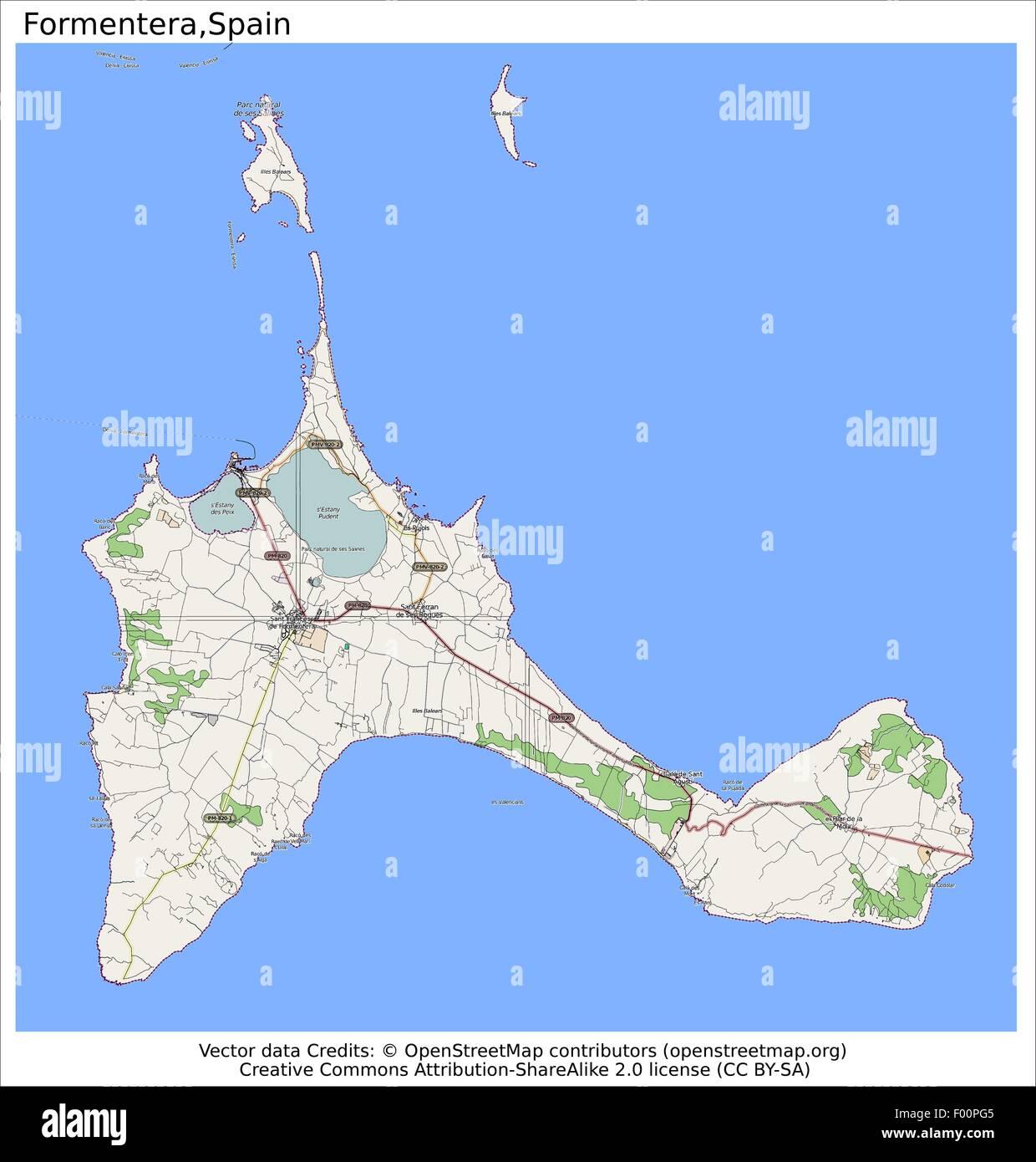 Cartina Geografica Spagna E Formentera.Isola Di Formentera Spagna Paese Isola Citta Membro