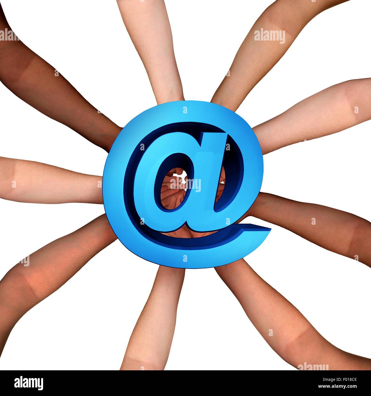 Comunità online collaborazione in Internet e di internet il concetto di cooperazione e sociale partecipazione Immagini Stock