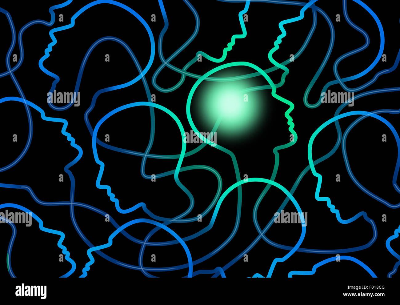 La psicologia sociale nozione come un gruppo di rete di persone le icone con un cervello individuale illuminati Immagini Stock