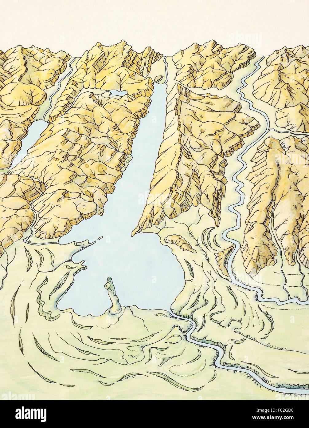 Lago Di Garda Cartina Fisica.La Struttura Geomorfologia E Origine Del Lago Di Garda Disegno Foto Stock Alamy