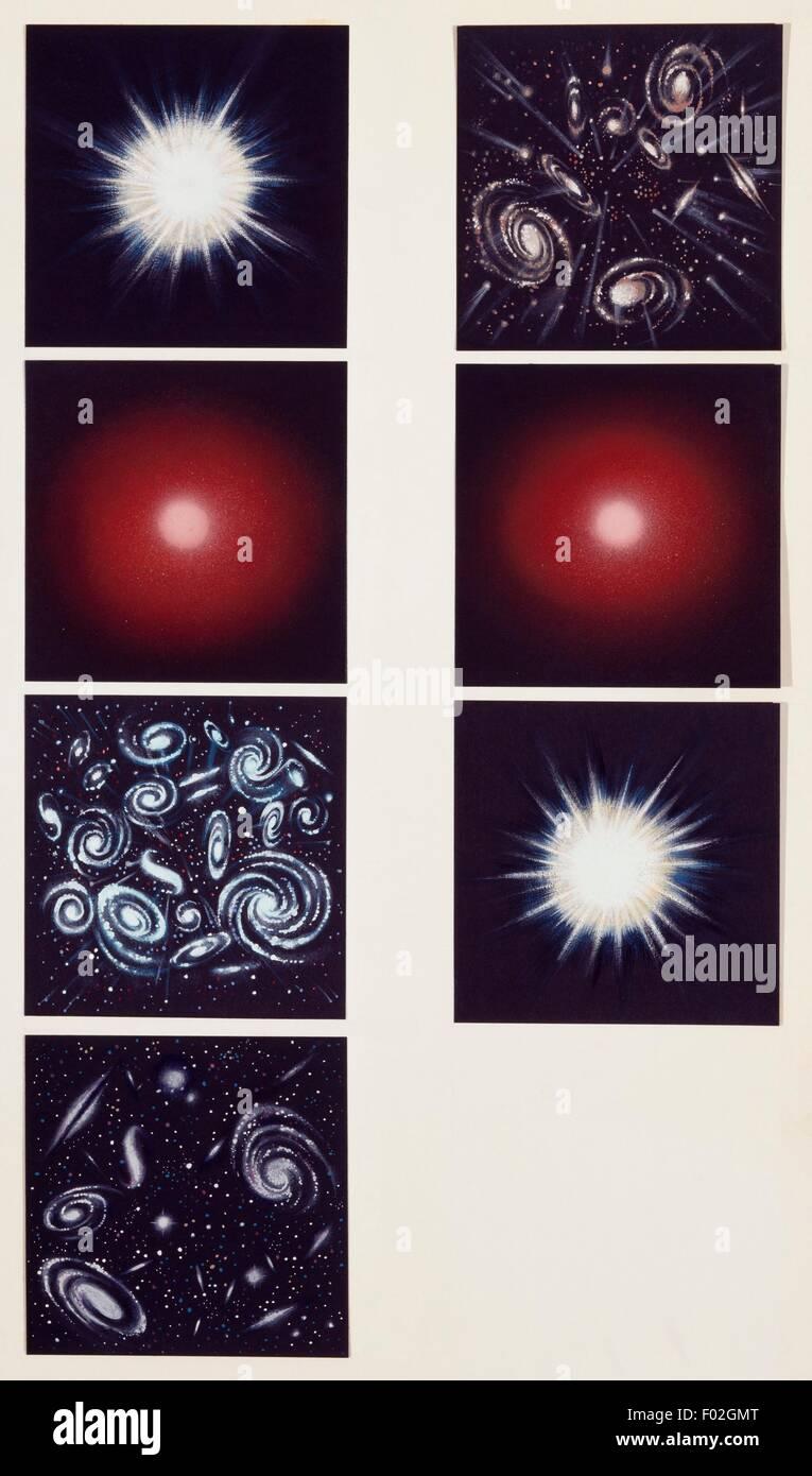 La storia dell'universo, disegno. Immagini Stock