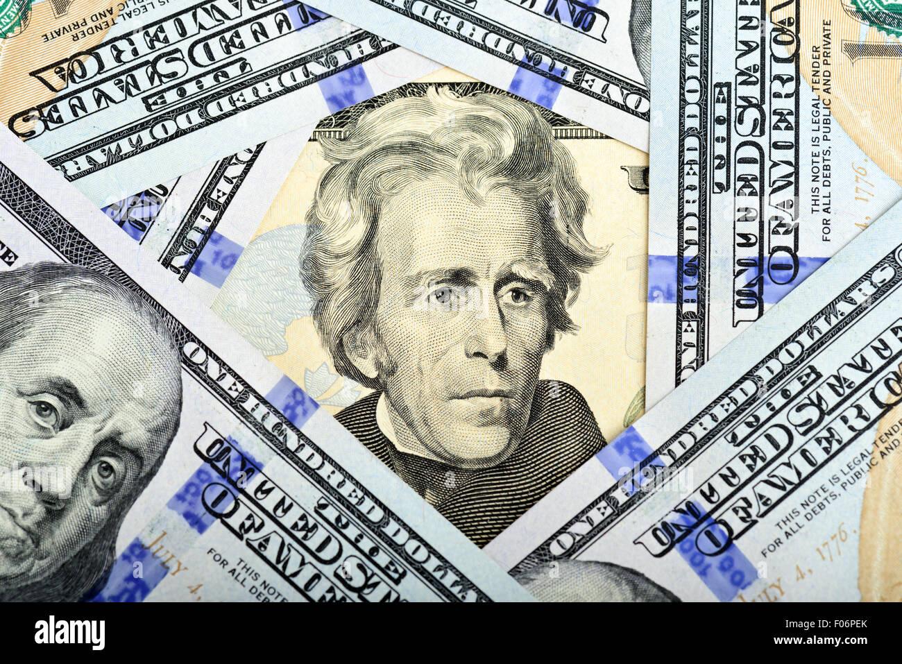 Il dollaro banconote come sfondo Immagini Stock