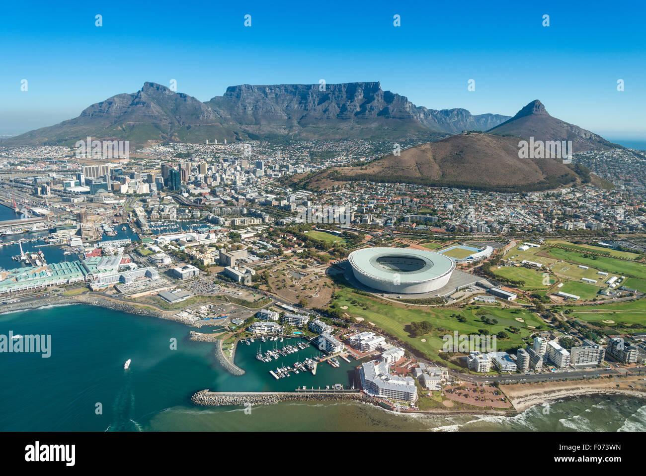 Vista aerea di Cape Town, Provincia del Capo occidentale, Repubblica del Sud Africa Immagini Stock