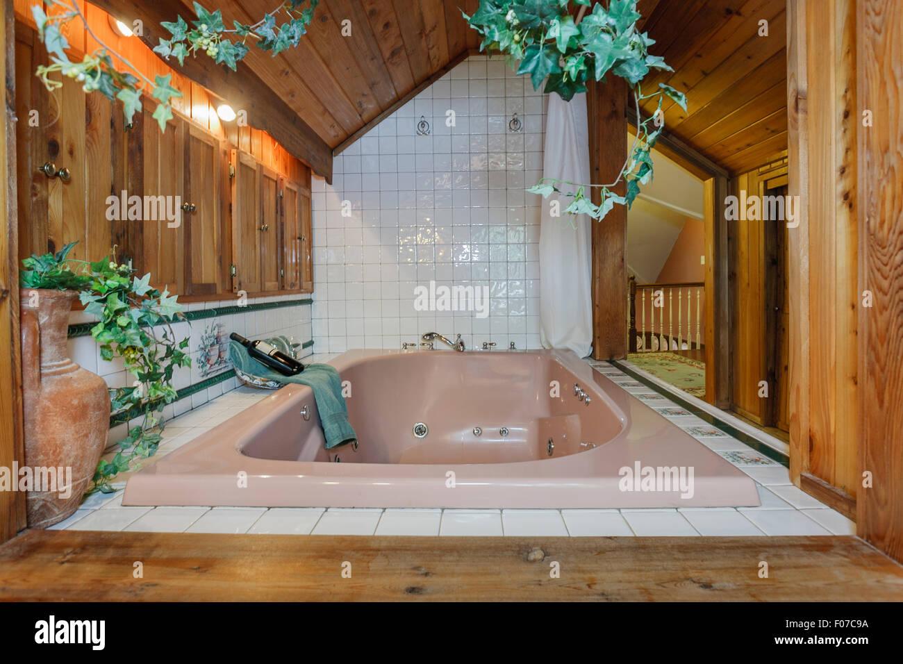 Rivestite di pannelli in legno bagno circa un bagno con