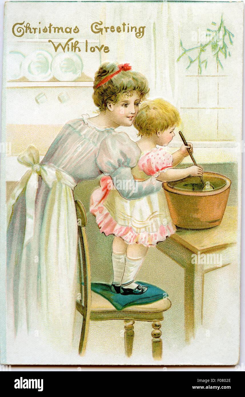 Immagini Vintage Natale.Cartolina Vintage Natale Foto Stock Alamy