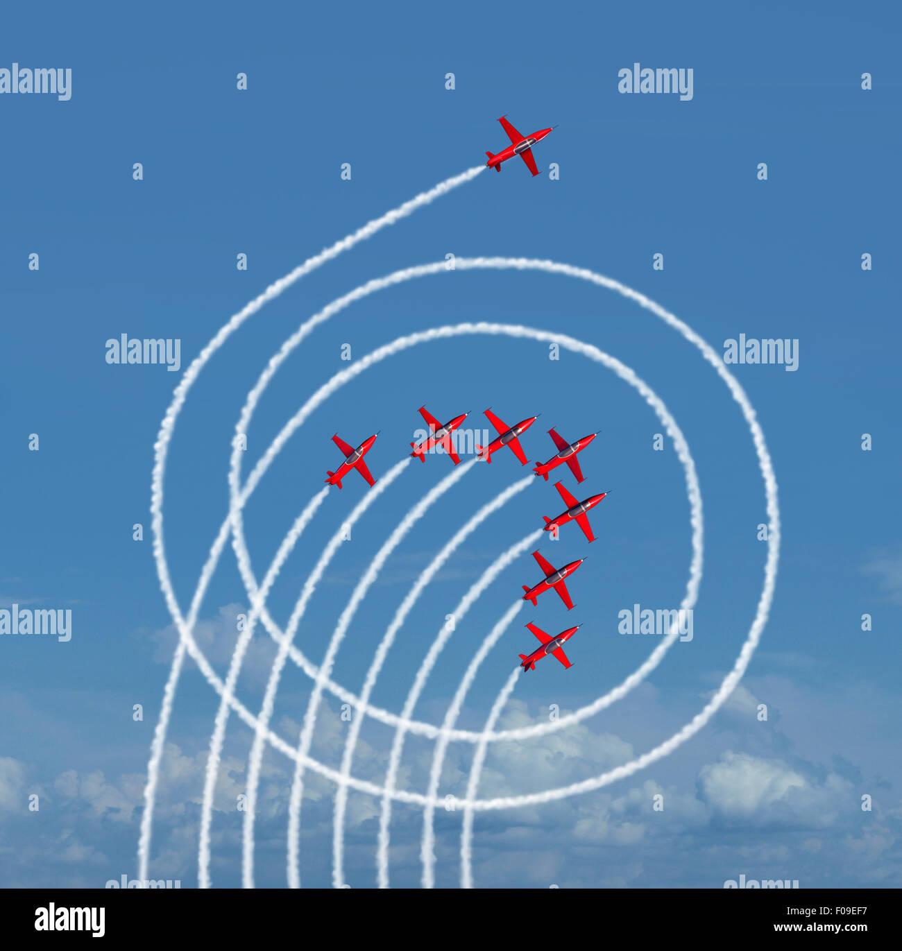 Superare il mercato il concetto di business come un aereo jet in esecuzione di cerchi intorno a la concorrenza con Immagini Stock