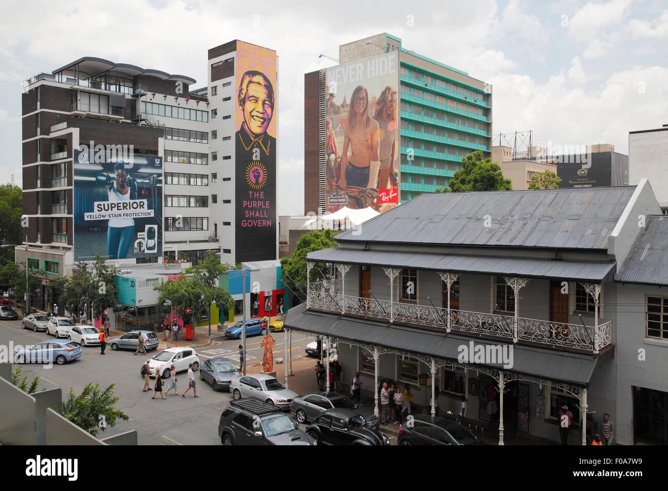 Sud Africa, Johannesburg. Mandela annuncio e l'era coloniale architettura. Immagini Stock