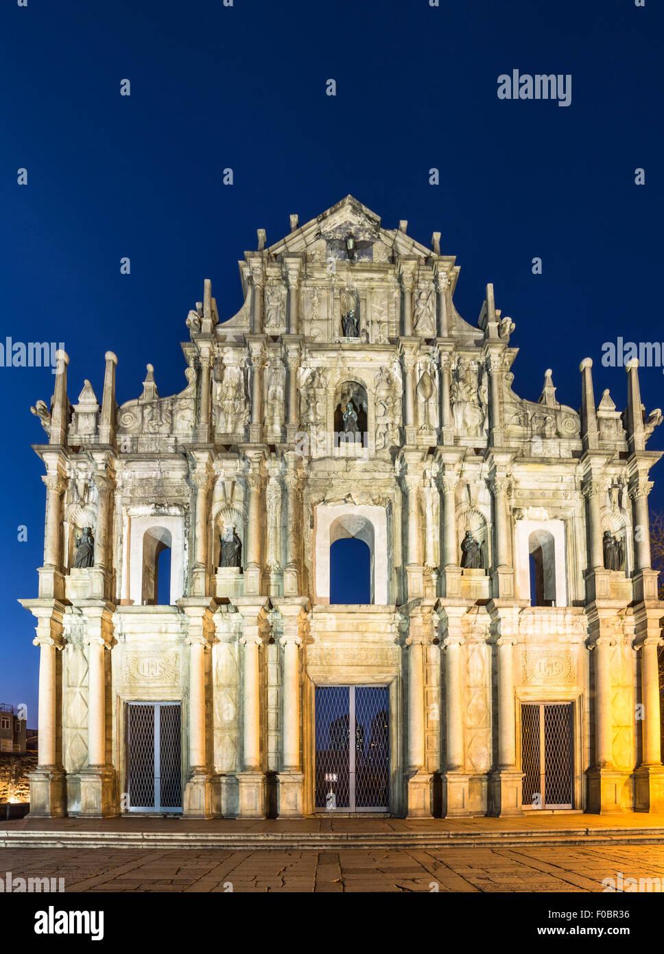 Le rovine di San Paolo la Chiesa, che consiste solo nella sua facciata principale di Macao sono una delle principali Immagini Stock