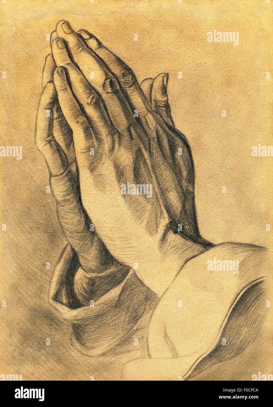 Due Mani In Preghiera Pone Disegno A Matita Foto Immagine Stock