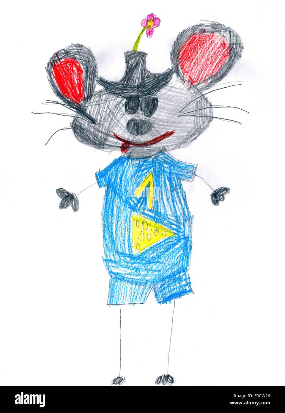 Mouse Blu Con Il Numero Uno Di Disegno Per Bambini Foto Immagine