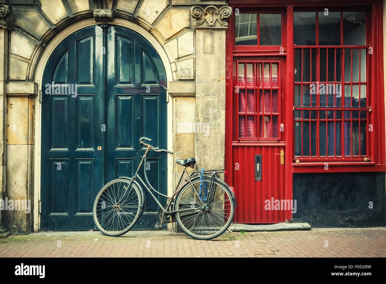 In bicicletta in Amsterdam Immagini Stock