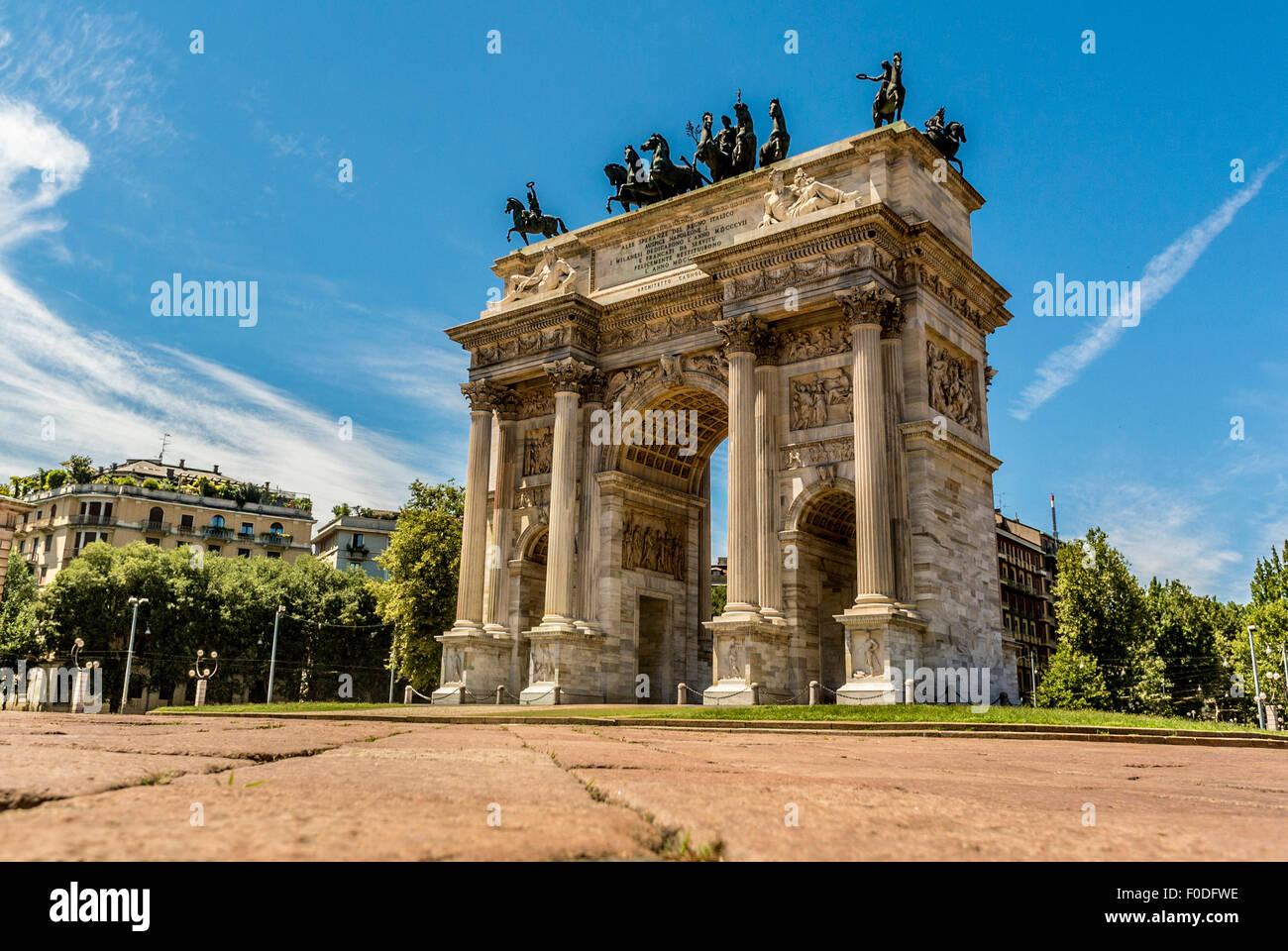 Arco della Pace o Arco della Pace. Costruito per Napoleone. Milano, Immagini Stock