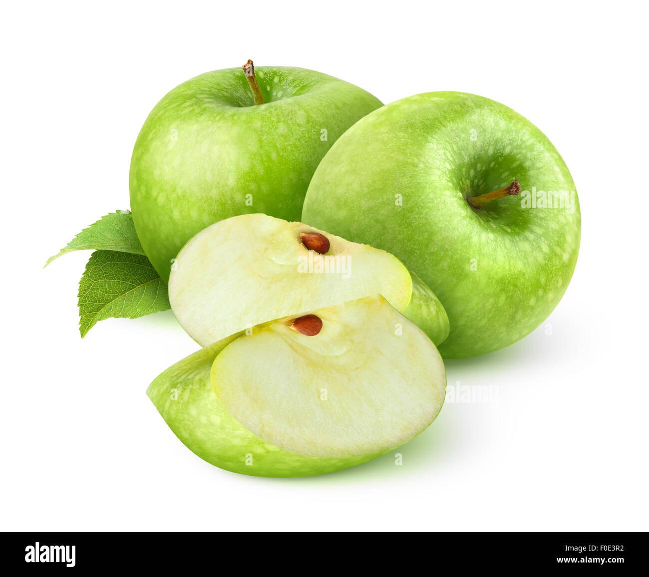 Mele Verdi isolati su bianco Immagini Stock