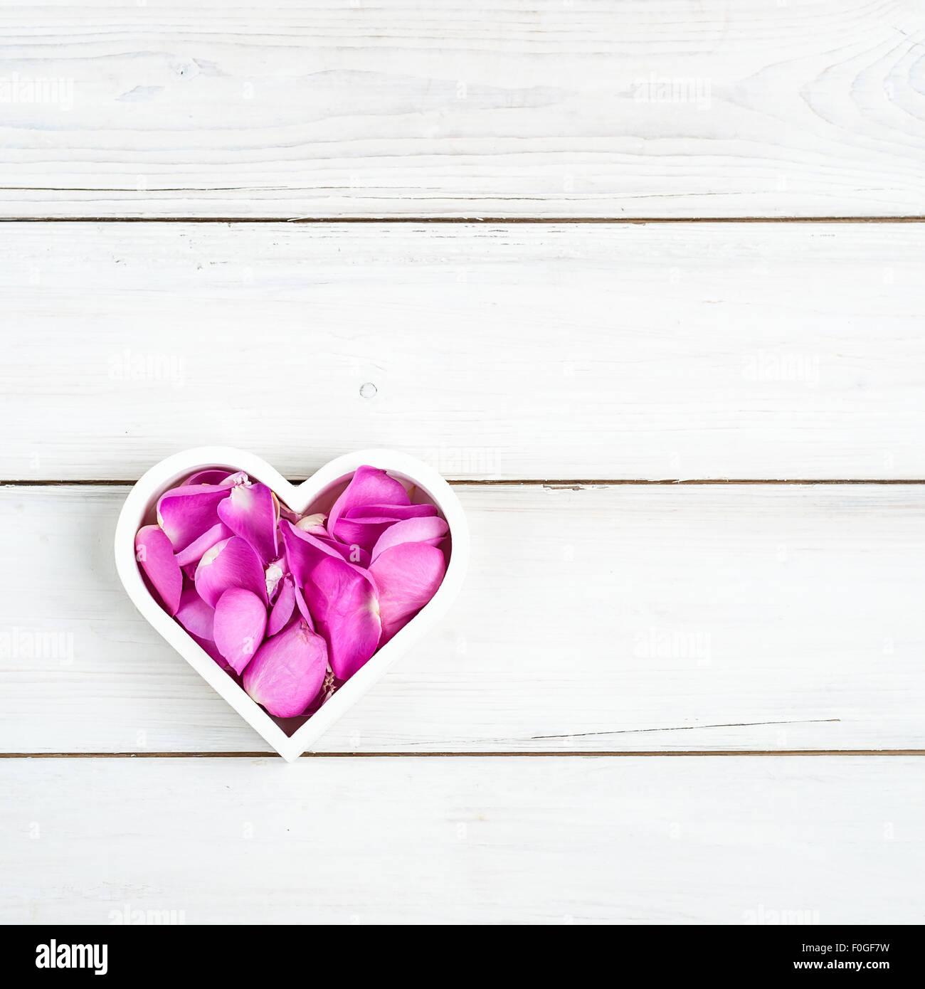 Un bianco a forma di cuore ad ciotola riempita con il colore rosa dei petali di rosa, su un dipinto di bianco sullo Immagini Stock
