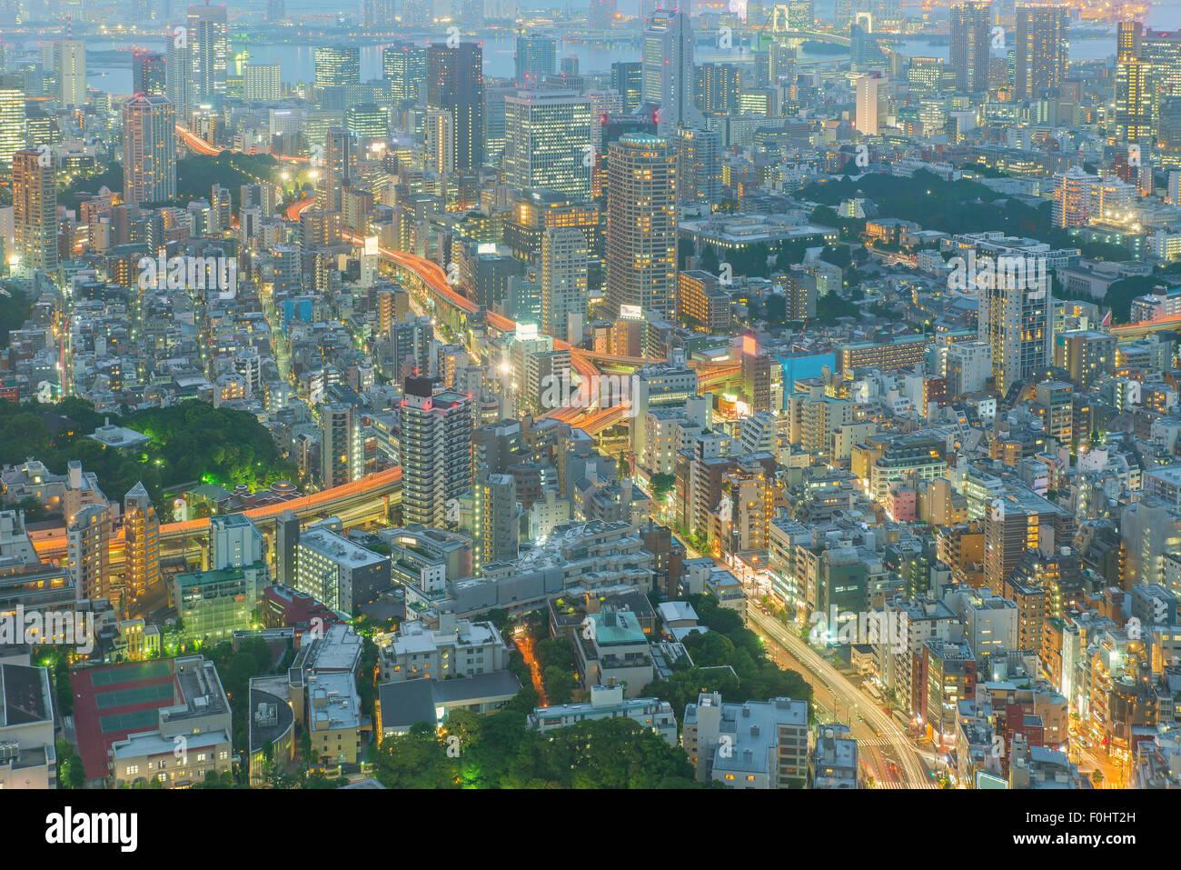 Tokyo, Giappone cityscape e autostrade Immagini Stock
