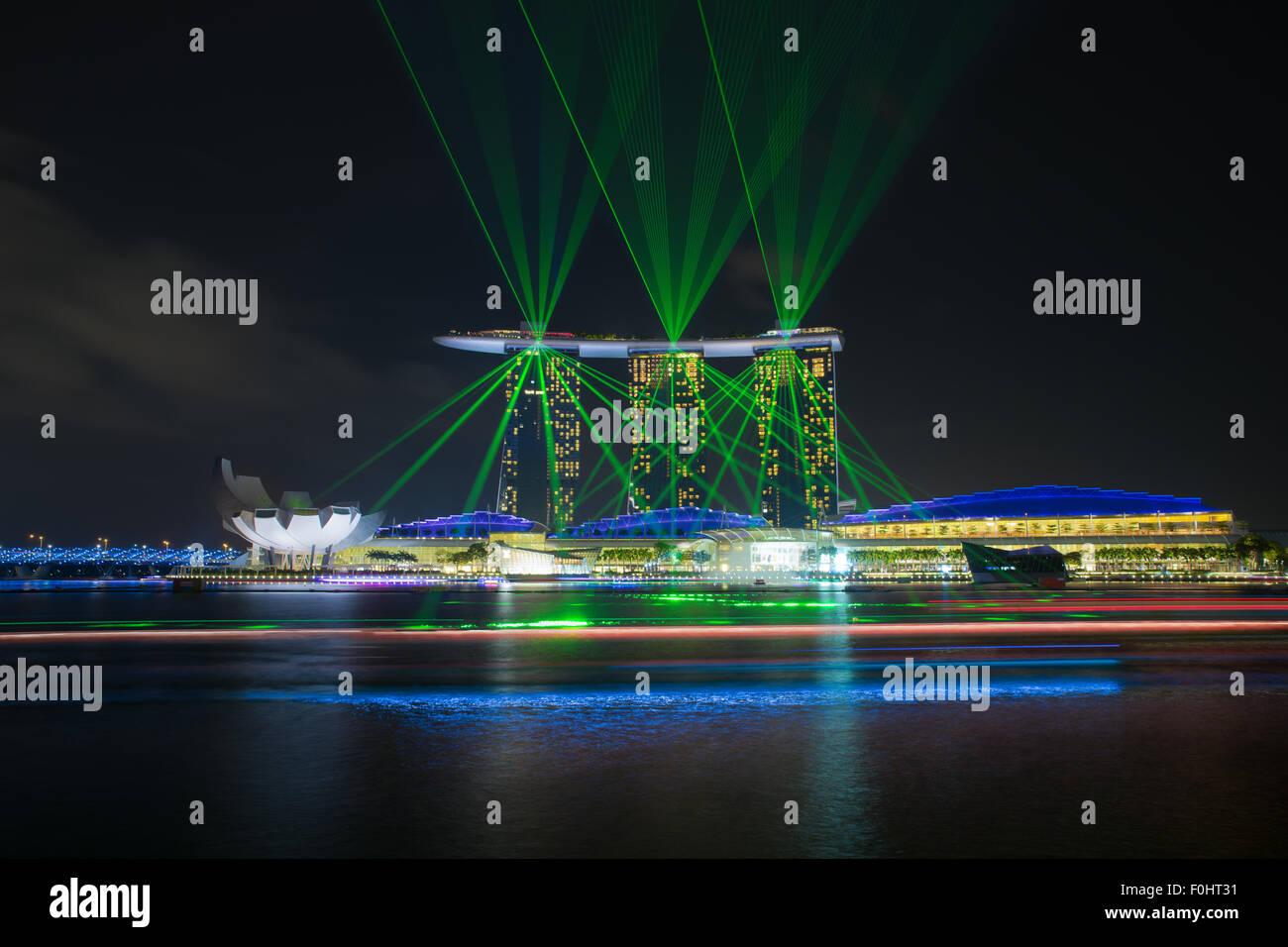 Laser show di Singapore Marina Bay, Singapore Immagini Stock