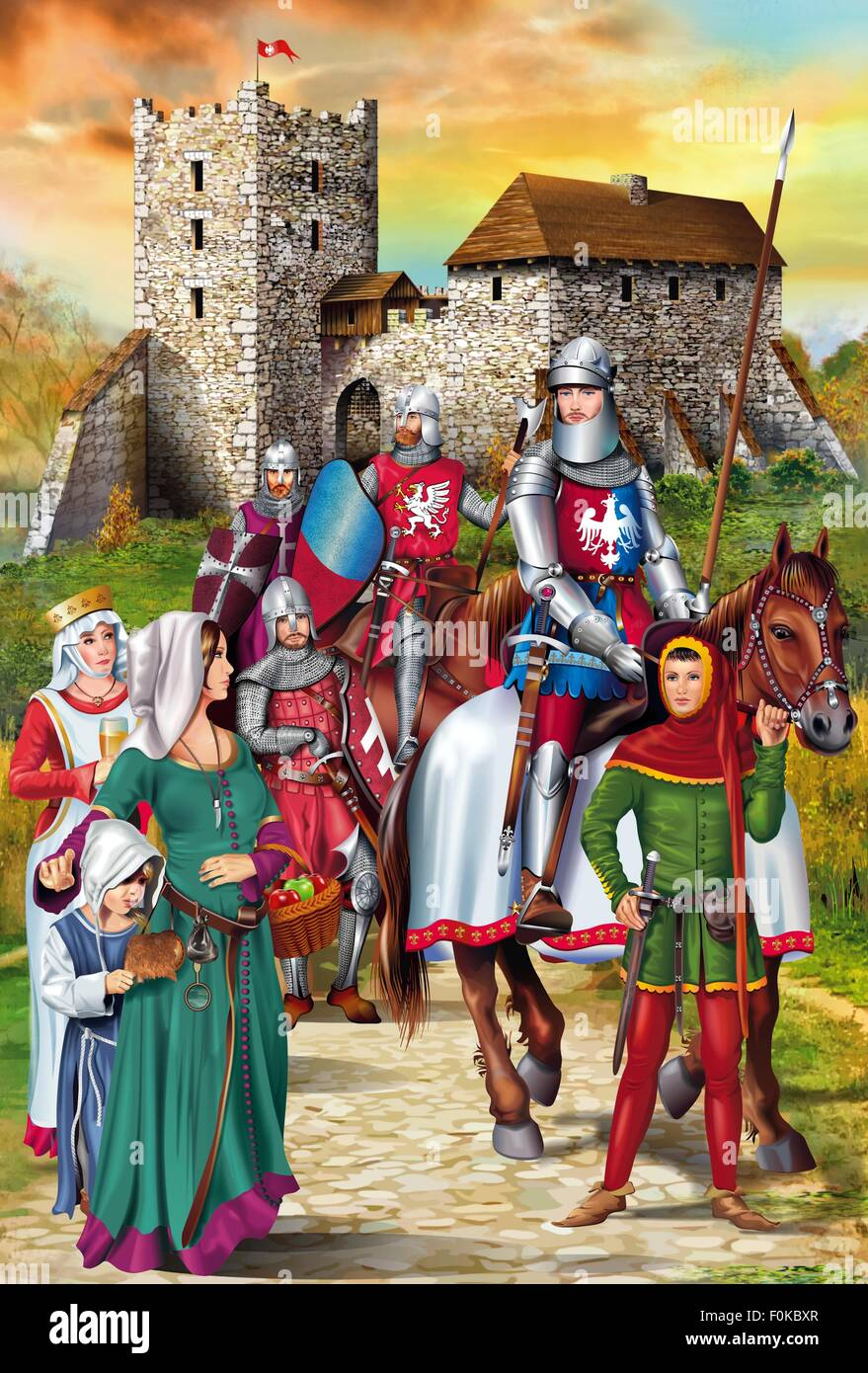 Castello medioevale con cavalieri