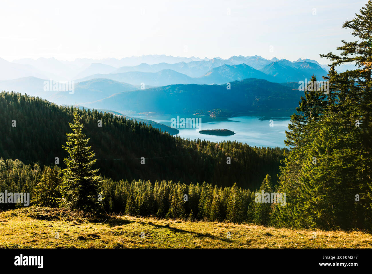 Vista da Jochberg al Lago Walchensee e montagne Karwendel, Baviera, Germania Foto Stock