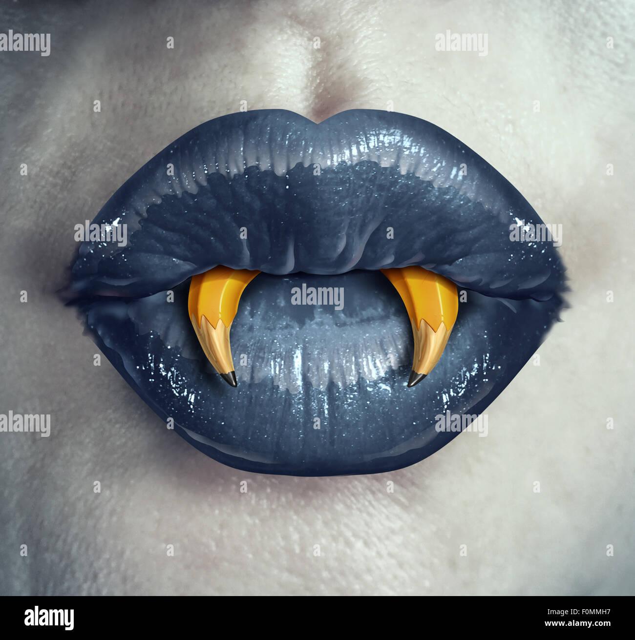 Vampiro il concetto di creatività come le labbra di un carattere di zombie con matite a forma di zanne appuntite Immagini Stock