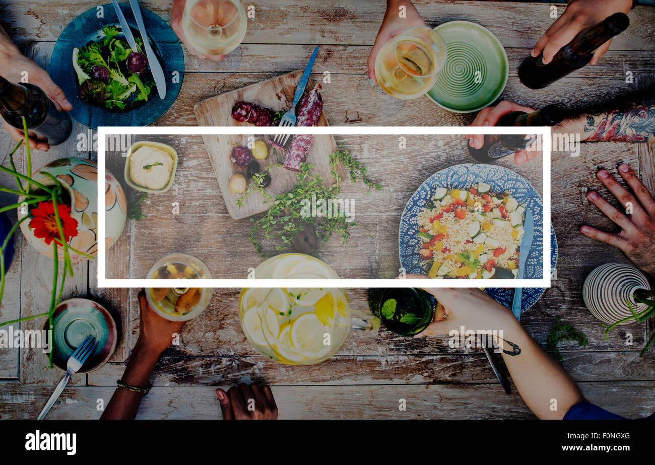 Bevanda alimentare parte pasto bere Concept Immagini Stock