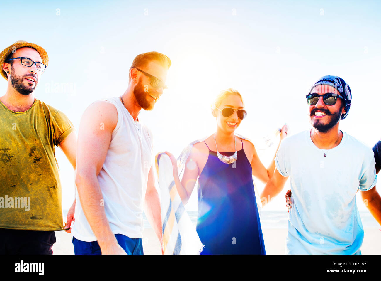Il legame di amicizia Relax Estate spiaggia felicità Concept Immagini Stock