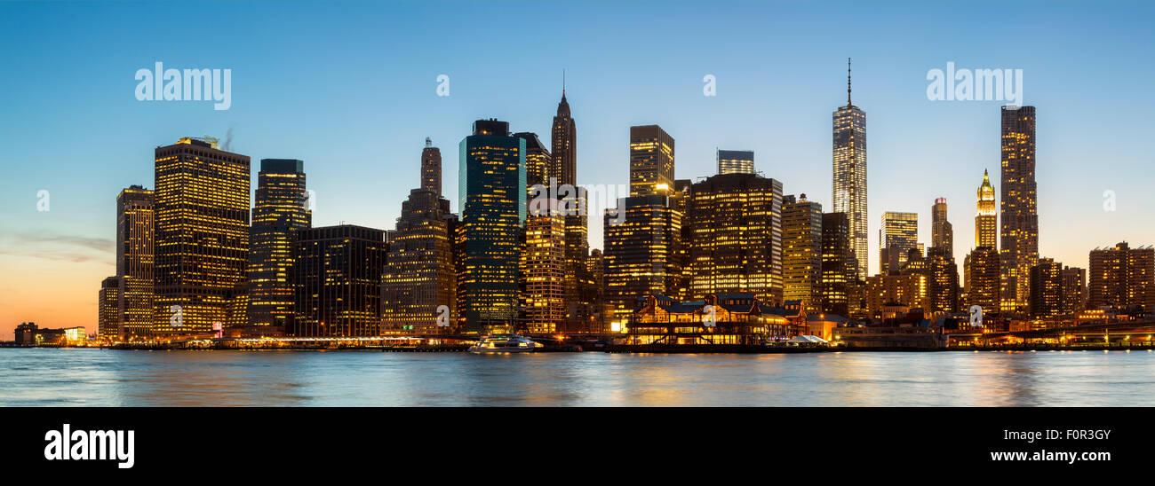 New York City di notte Immagini Stock