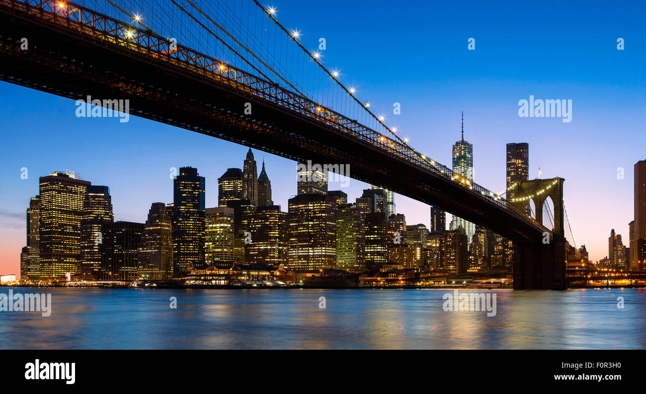 La città di New York, il Ponte di Brooklyn Immagini Stock