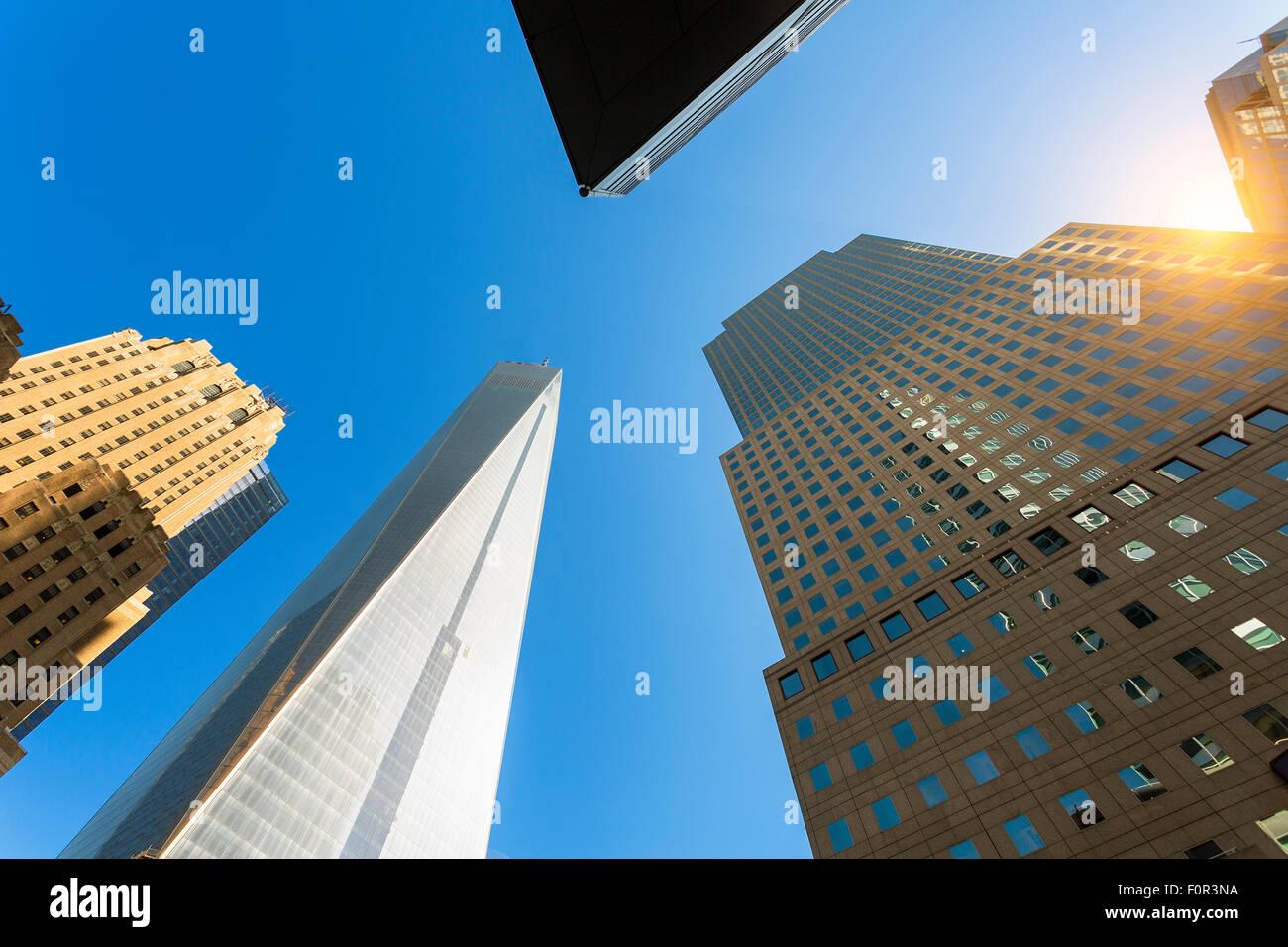 La città di New York, One World Trade Center Immagini Stock