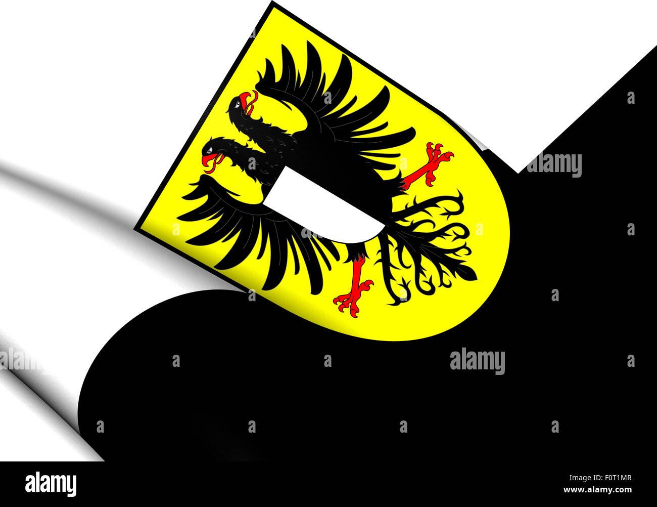 3D Bandiera di Friedberg (Friedberg in der Wetterau), Germania. Close up. Foto Stock