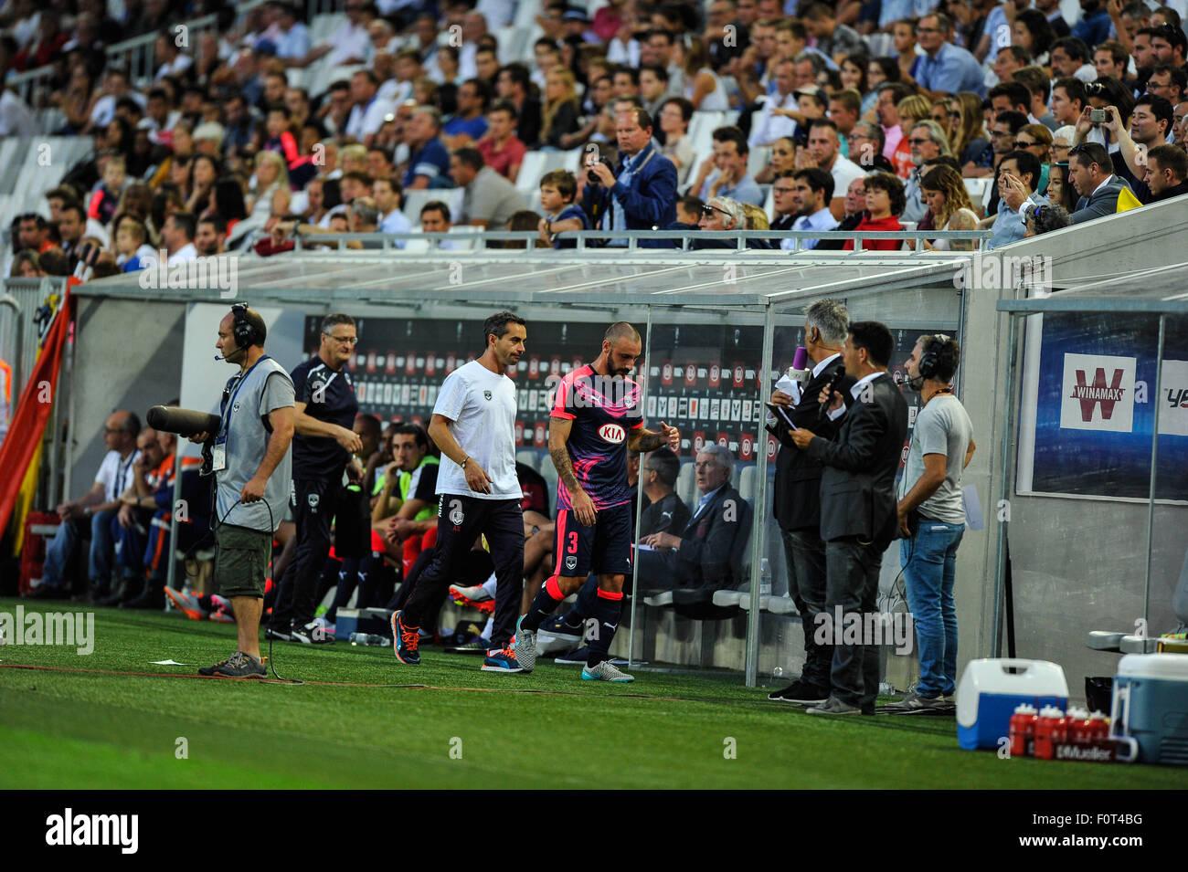 Bordeaux, Francia. 20 agosto 2015. Europa League qualification round preliminari. Bordeaux versus Kairat Almaty. Immagini Stock