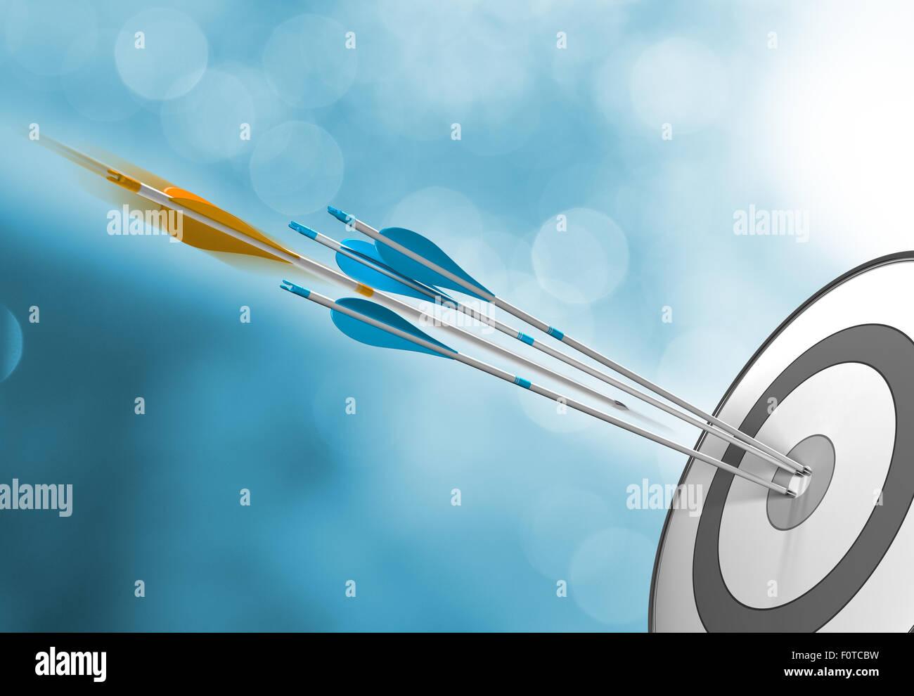 Tre frecce blu di colpire il target center più un arancione una in movimento intorno a colpire il bersaglio. Immagini Stock