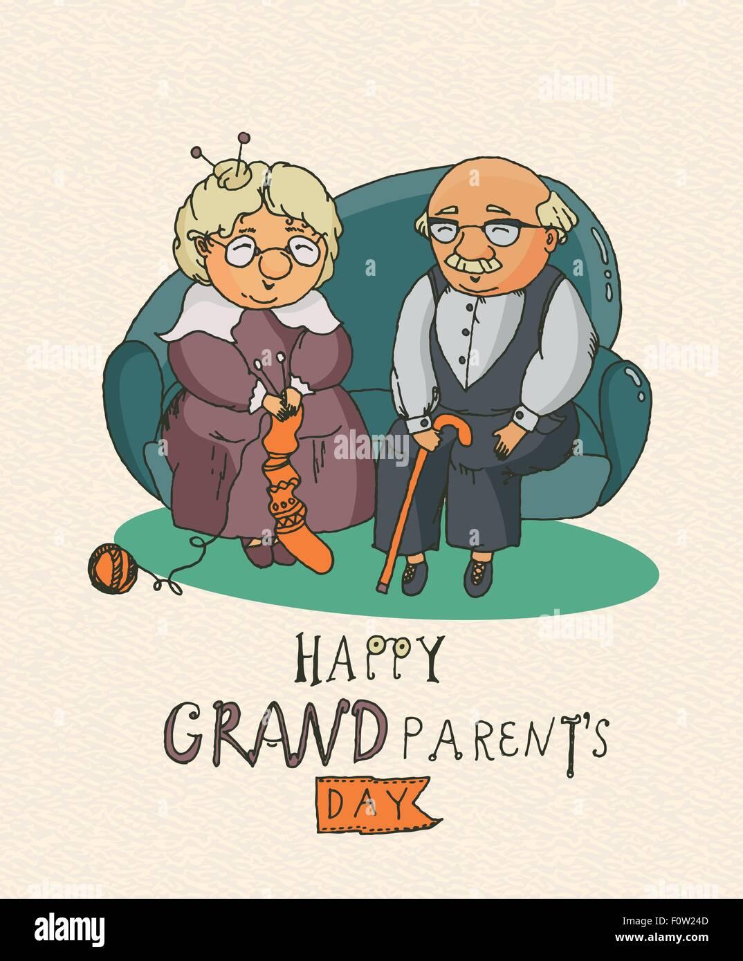Felice Giorno Dei Nonni Vettore Biglietto Di Auguri In Doodle Design