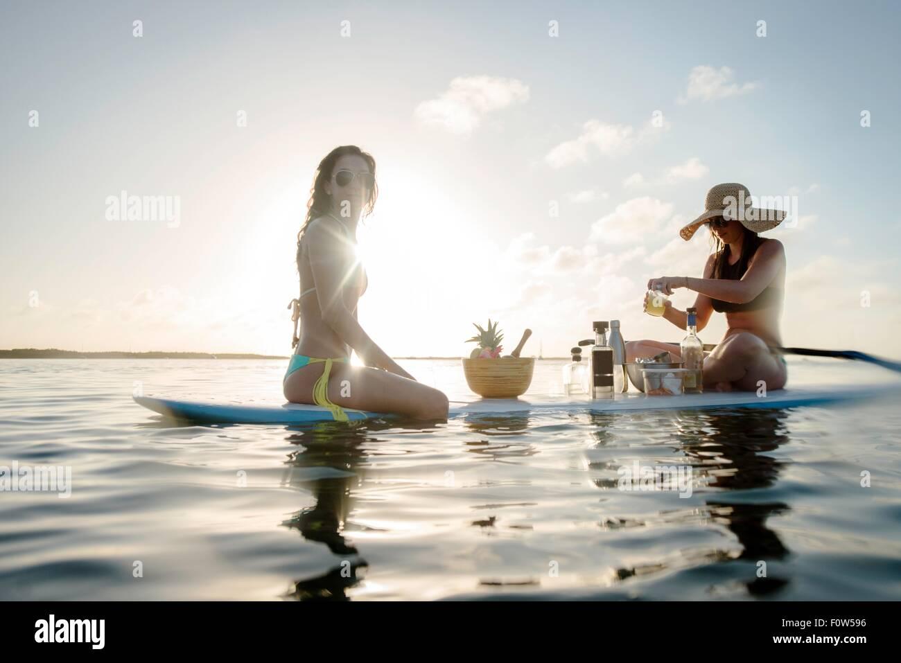 Due giovani donne la preparazione di cocktail su paddleboard, Islamorada, Florida, Stati Uniti d'America Immagini Stock