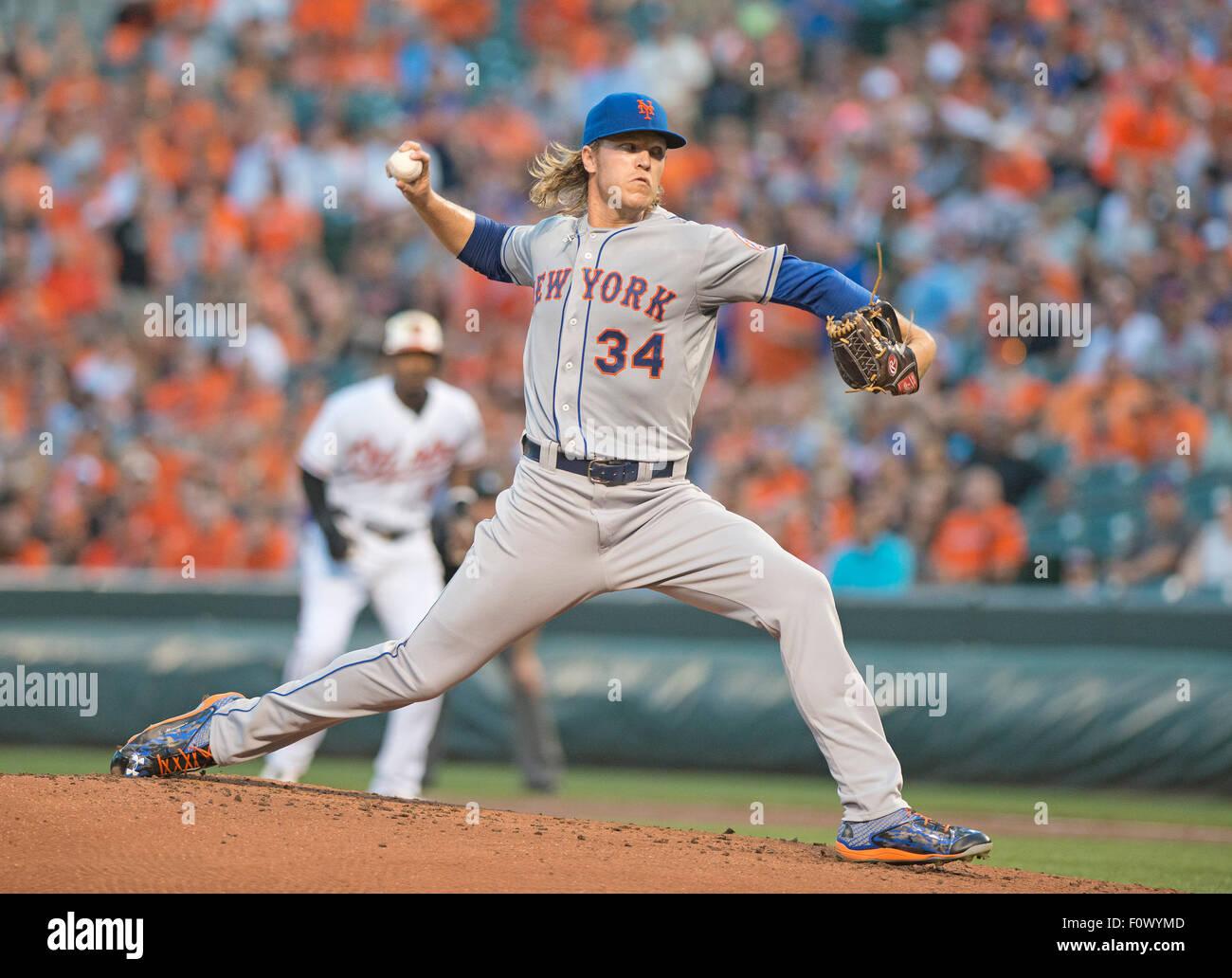 New York Mets a partire lanciatore Noè Syndergaard (34) funziona nel primo inning contro i Baltimore Orioles Immagini Stock