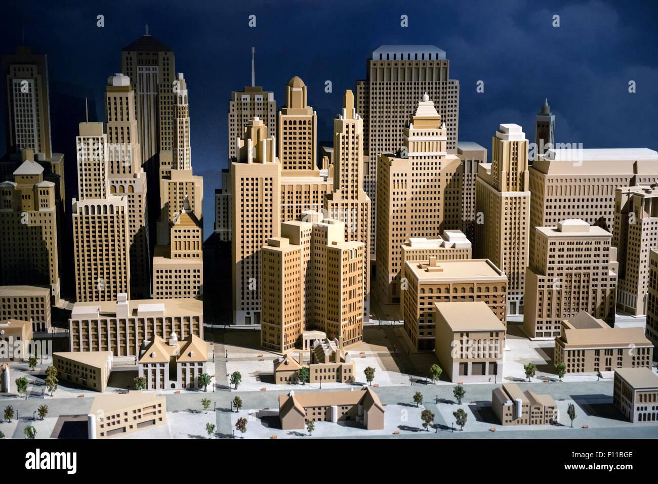 3d modello in scala di una città che mostra il CBD con moderni grattacieli e alto edificio di architettura Immagini Stock