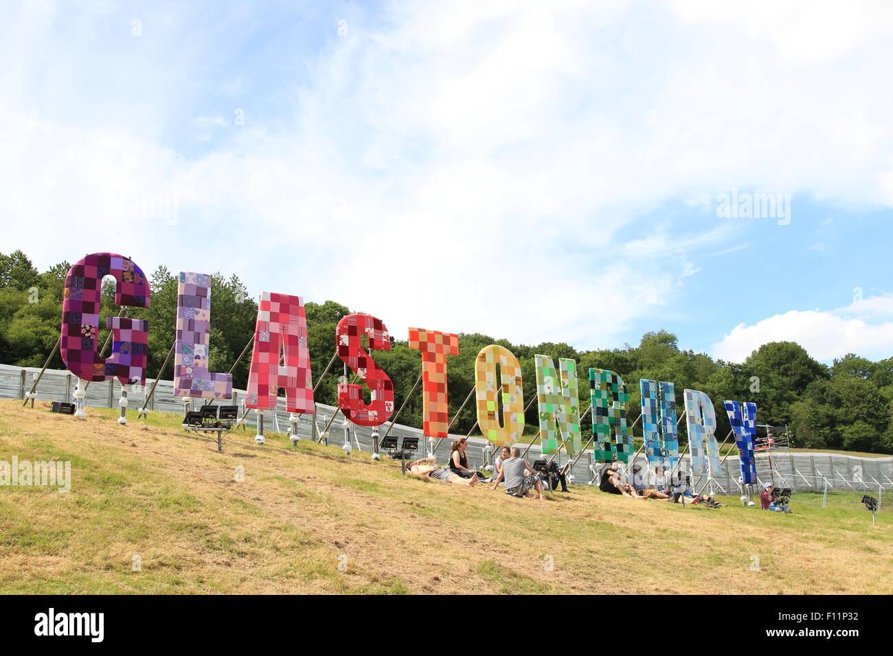 Glastonbury Festival 2015 - Giorno 1 - atmosfera dotata di: atmosfera dove: Somerset, Regno Unito quando: 24 Giu Immagini Stock