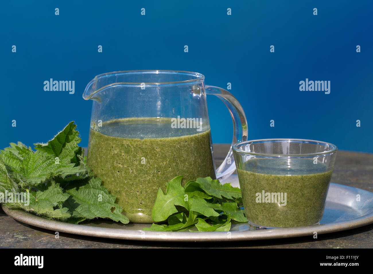 Frullato di verde, smoothie, Grüner Smoothie, Smoothy, Ganzfruchtgetränk, gesund, Gesundheit, salubrità, salute Foto Stock
