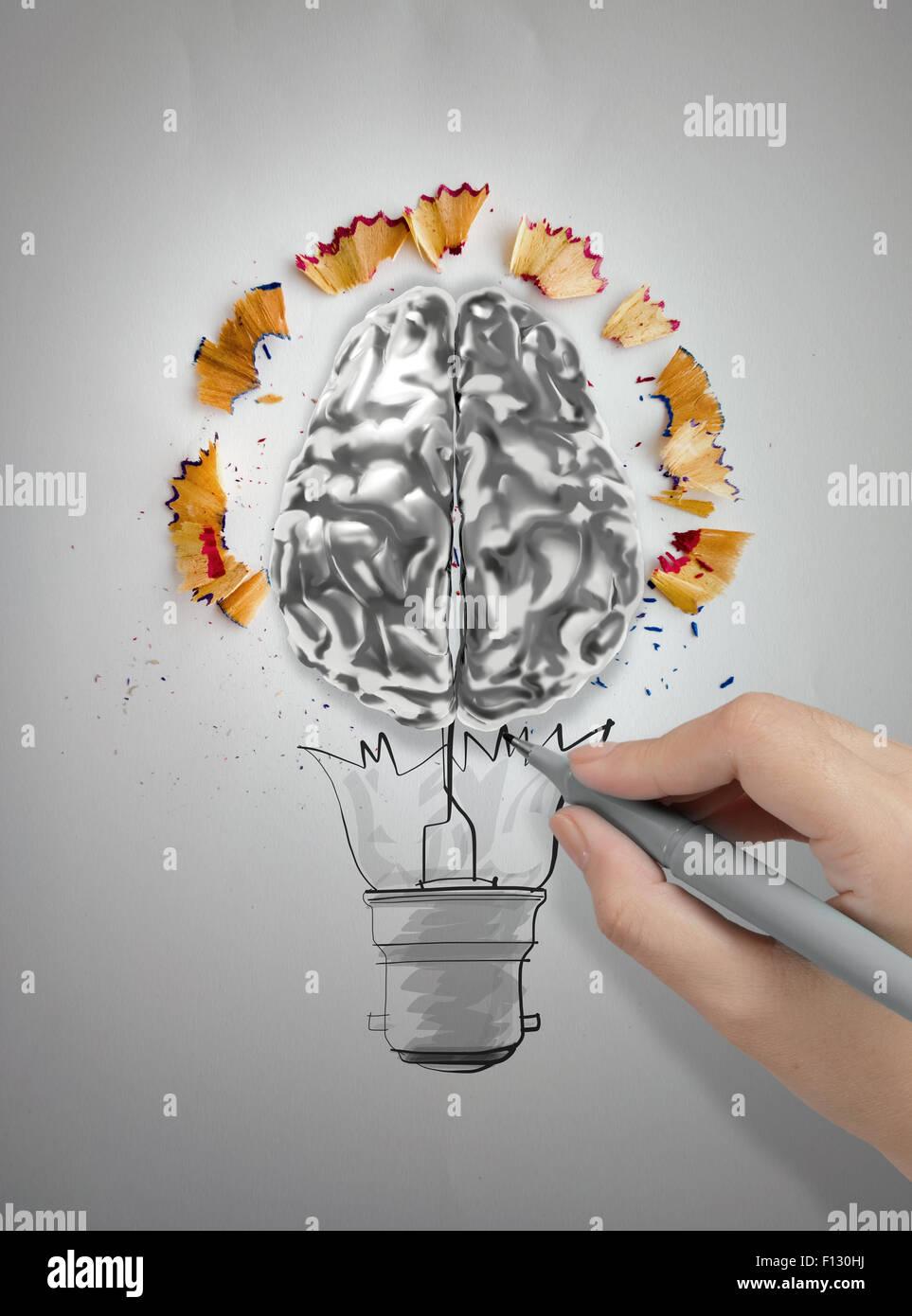 Disegno A Mano Lampadina Con Una Matita La Segatura E 3d Cervello