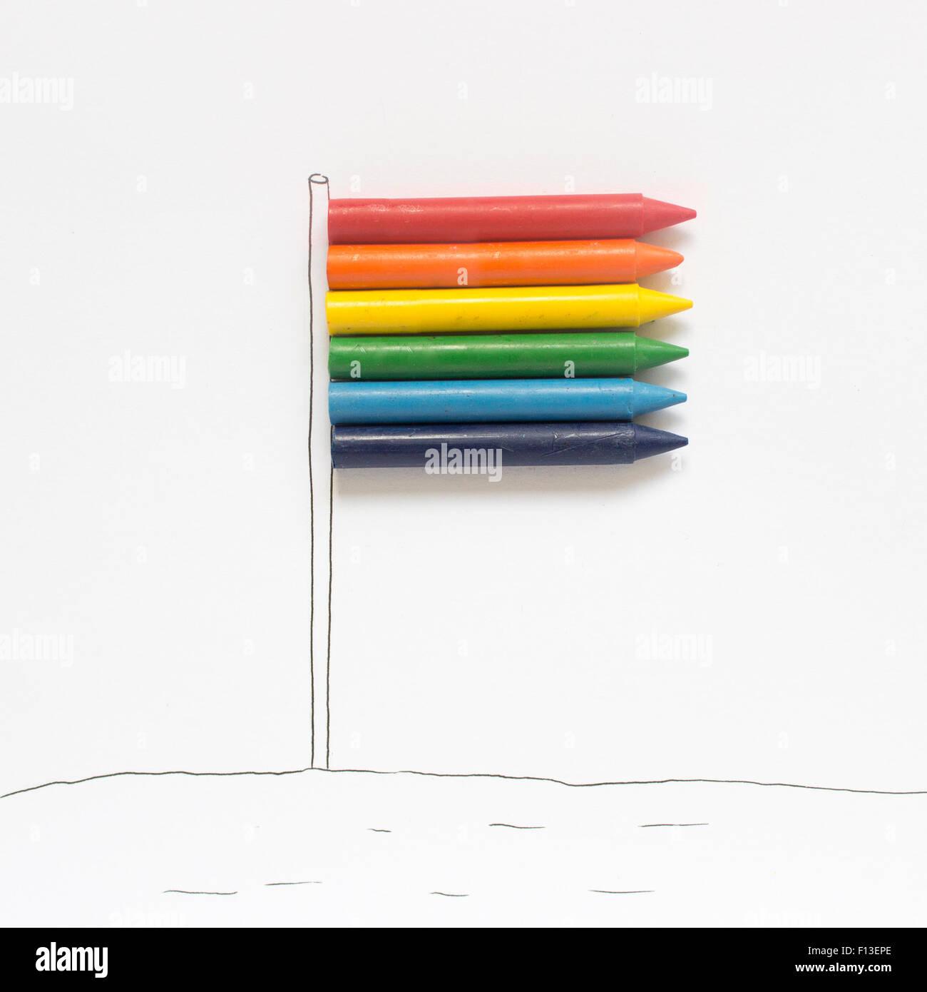 Concettuale bandiera arcobaleno Immagini Stock
