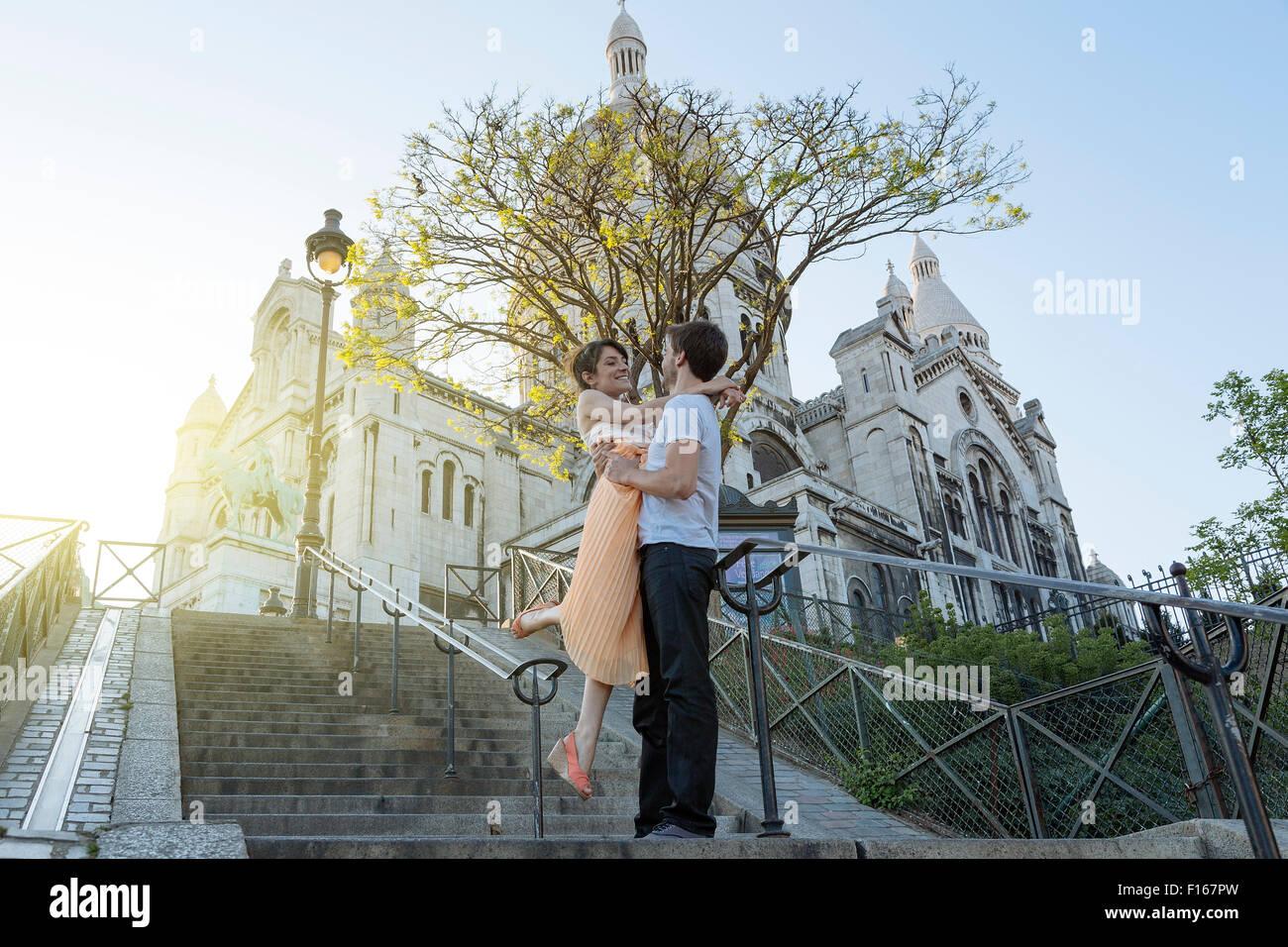 Parigi, giovane risalente a Montmartre Immagini Stock