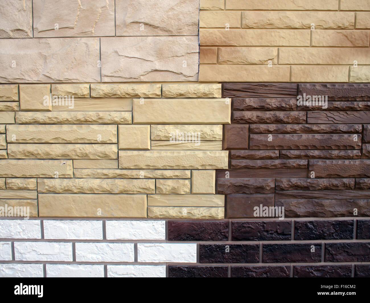 Diversi tipi di superficie artificiale che imita la pietra naturale