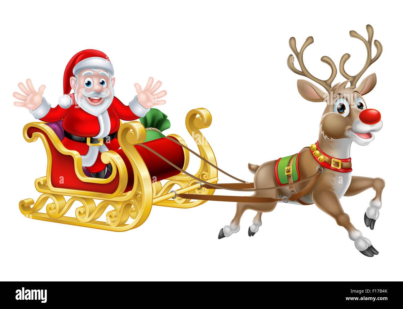 Immagini Di Babbo Natale Con La Slitta E Le Renne.Cartoon Di Babbo Natale E Delle Sue Renne Con La Sua Slitta