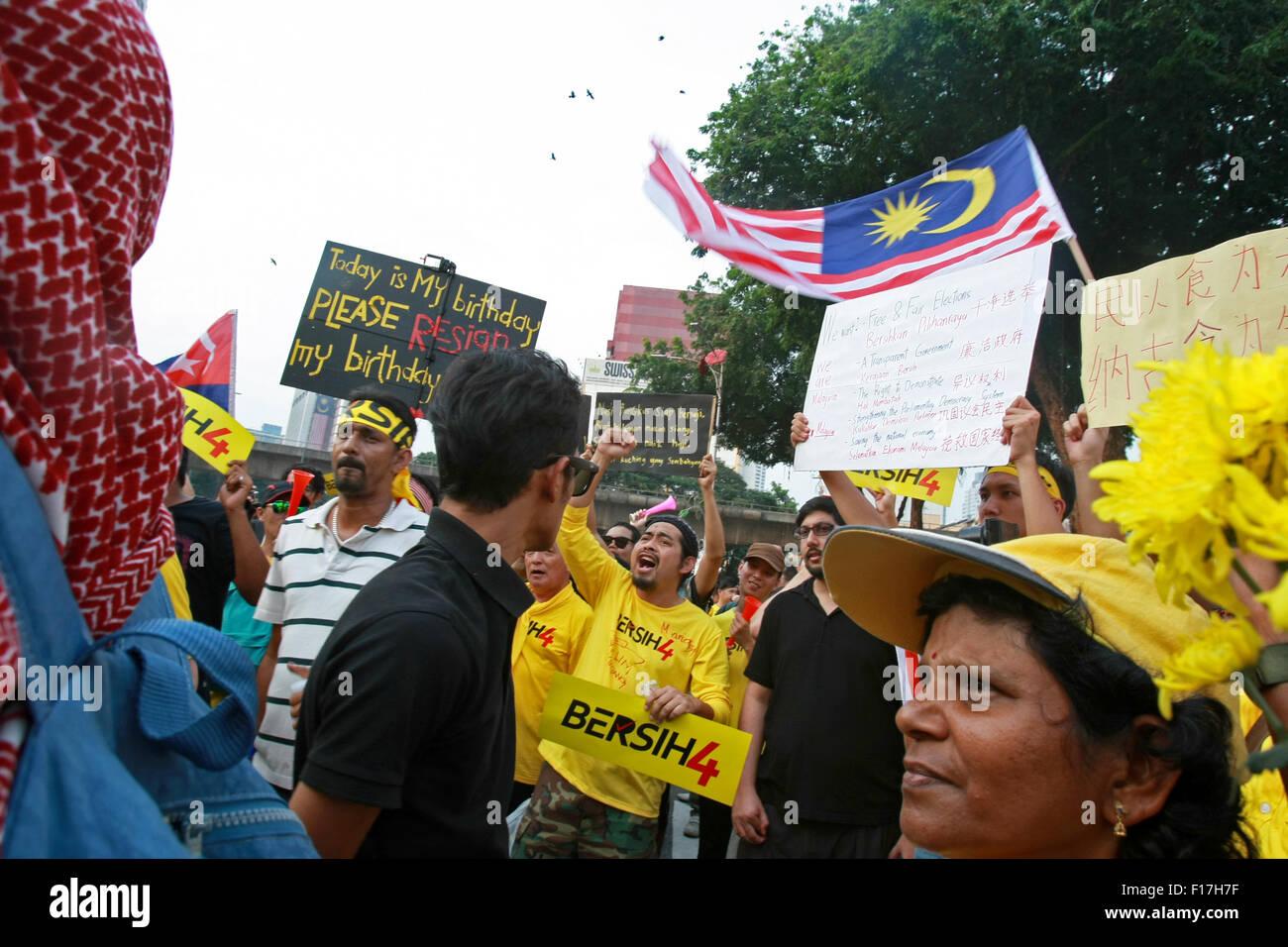 kl, k1, malaysia il 29 agosto, 2015 protester grida di bersih 4 0