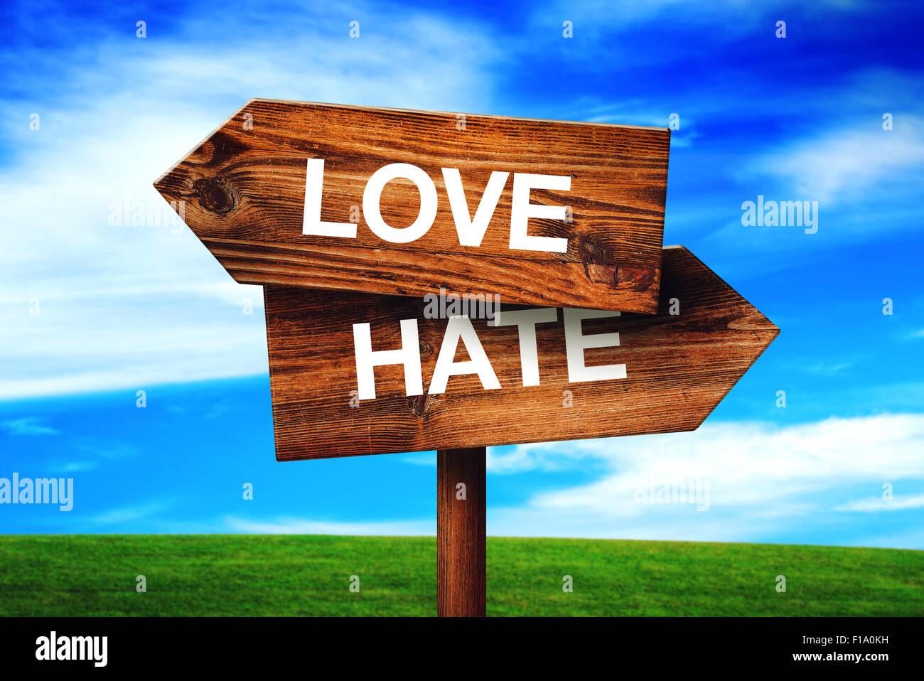 Amore o odio scelta concetto, direzione palina con prati e cielo blu come sfondo. Immagini Stock