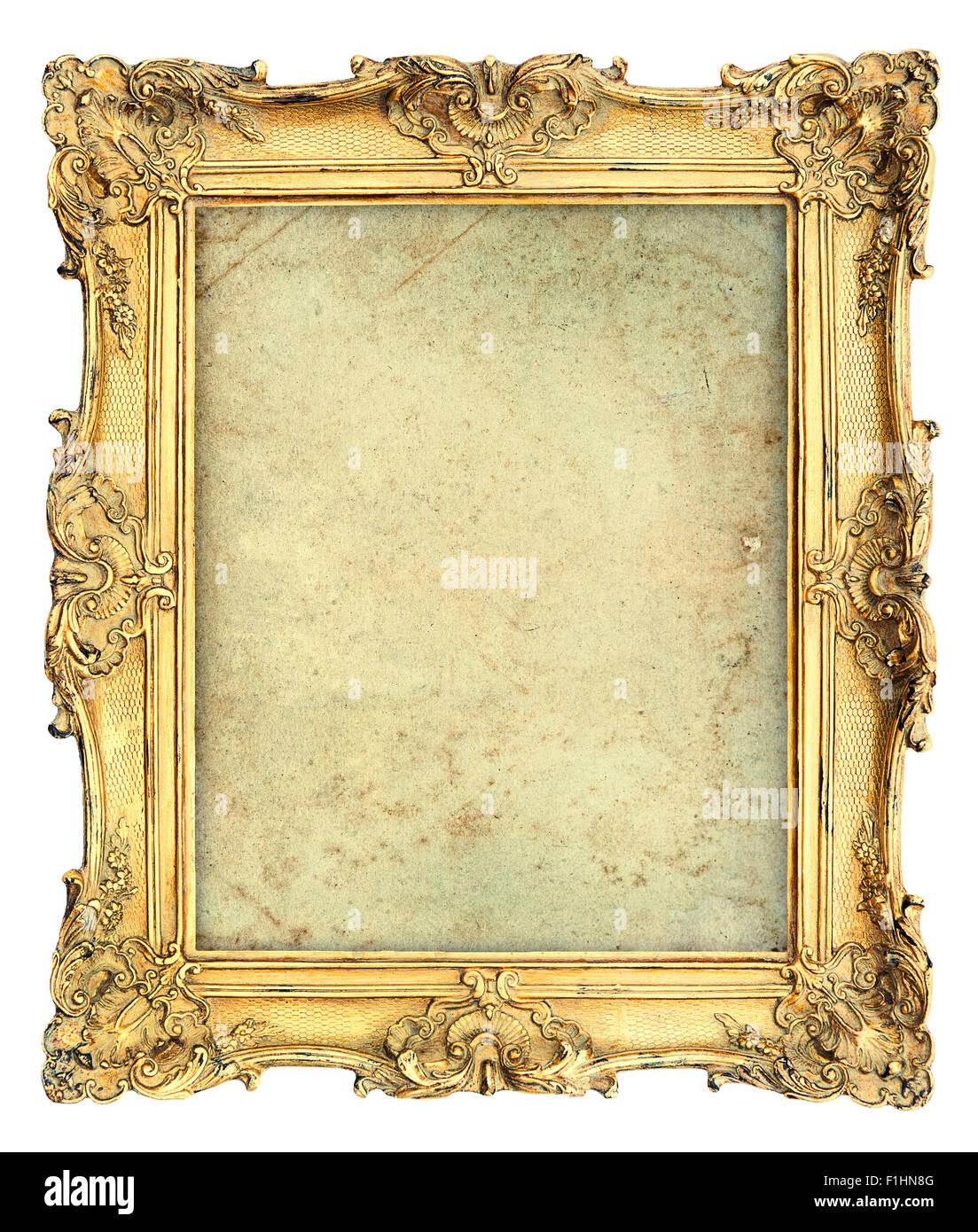 673e82637fd Golden stile barocco picture frame con tela isolati su sfondo bianco.  Oggetto vintage